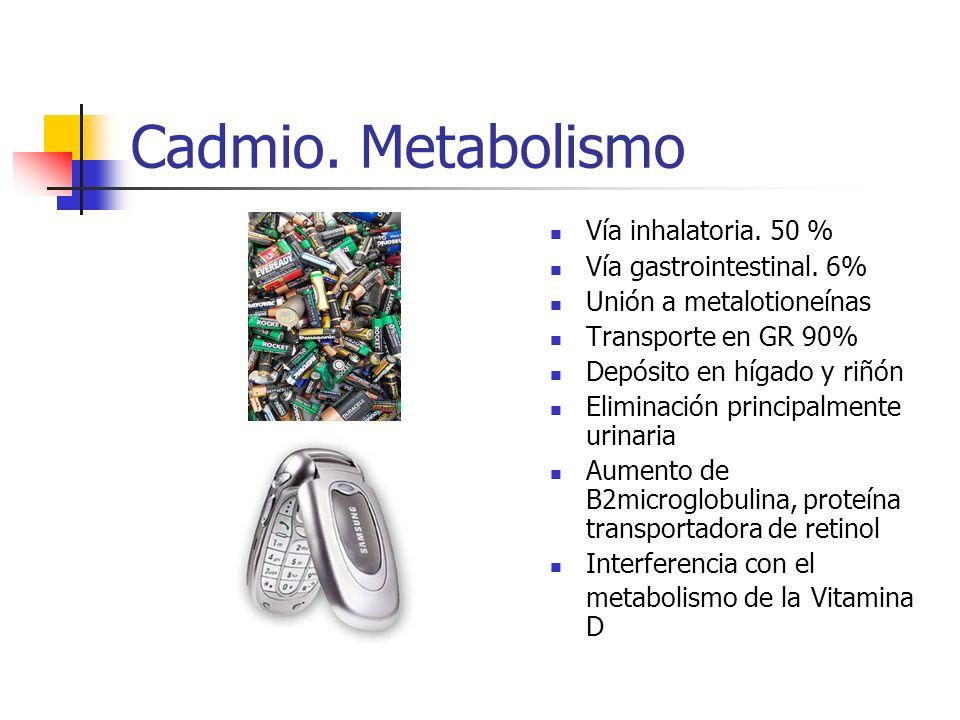 Cadmio. Metabolismo Vía inhalatoria. 50 % Vía gastrointestinal. 6% Unión a metalotioneínas Transporte en GR 90% Depósito en hígado y riñón Eliminación