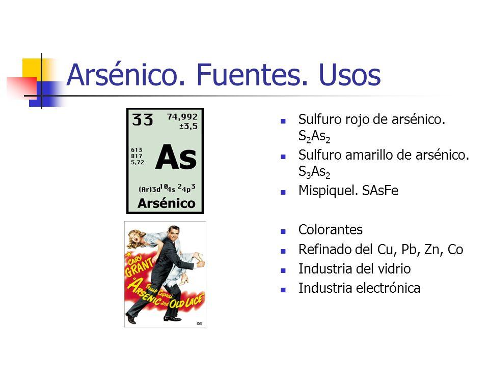 Arsénico. Fuentes. Usos Sulfuro rojo de arsénico. S 2 As 2 Sulfuro amarillo de arsénico. S 3 As 2 Mispiquel. SAsFe Colorantes Refinado del Cu, Pb, Zn,