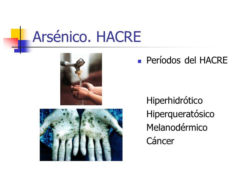 Arsénico. HACRE Períodos del HACRE Hiperhidrótico Hiperqueratósico Melanodérmico Cáncer