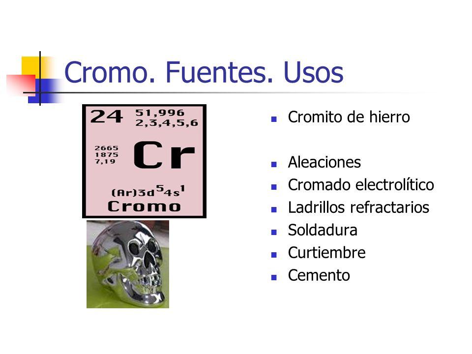 Cromo. Fuentes. Usos Cromito de hierro Aleaciones Cromado electrolítico Ladrillos refractarios Soldadura Curtiembre Cemento