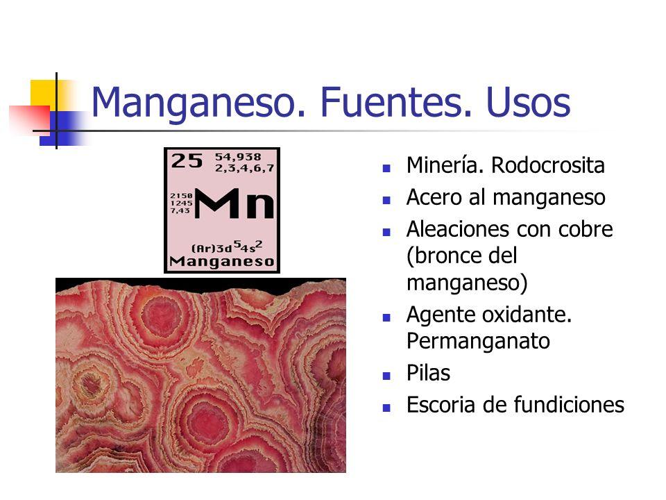 Manganeso. Fuentes. Usos Minería. Rodocrosita Acero al manganeso Aleaciones con cobre (bronce del manganeso) Agente oxidante. Permanganato Pilas Escor