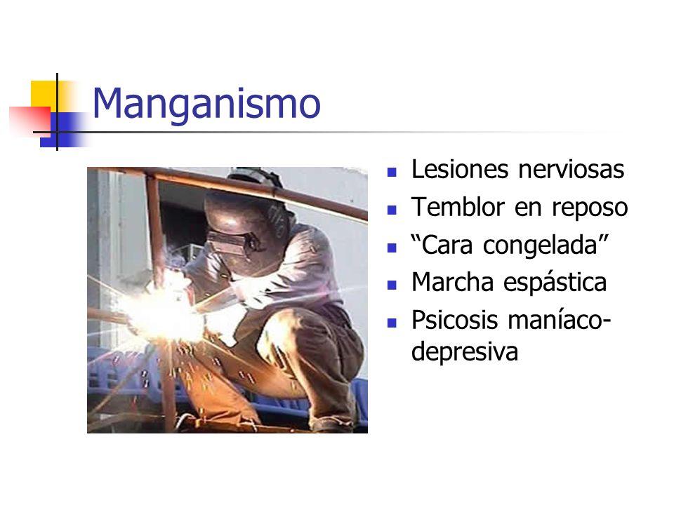 Manganismo Lesiones nerviosas Temblor en reposo Cara congelada Marcha espástica Psicosis maníaco- depresiva