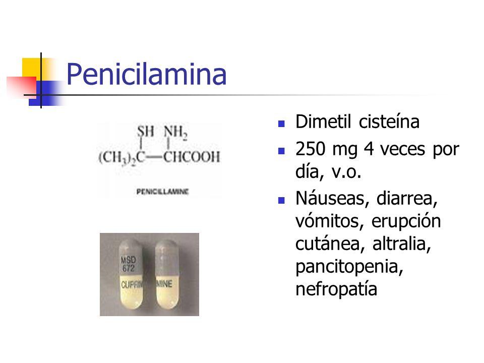 Penicilamina Dimetil cisteína 250 mg 4 veces por día, v.o. Náuseas, diarrea, vómitos, erupción cutánea, altralia, pancitopenia, nefropatía