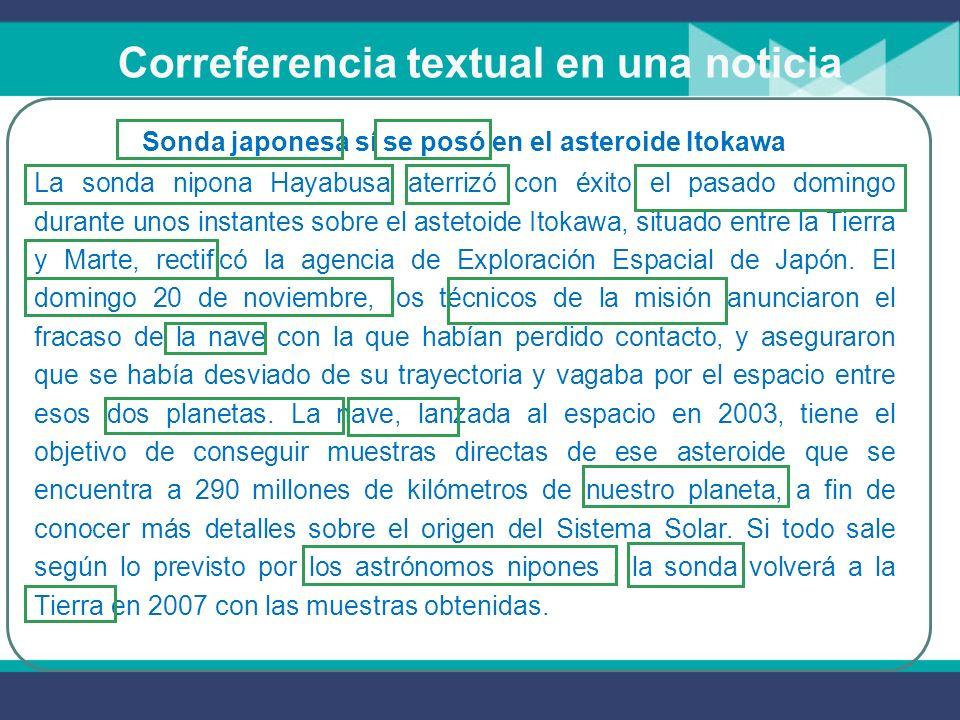 Cohesión: La correferencia Como los conectores, la correferencia es otro mecanismo de cohesión textual y el conocimiento y manejo de su adecuado uso te ayudará a una mejor comprensión y producción de textos.