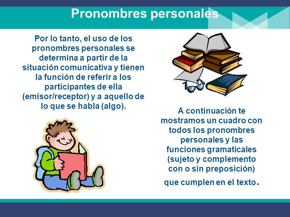 Pronombres personales RECEPTOR Los pronombres personales se organizan a partir de la situación comunicativa básica en que un emisor le dice algo a un receptor.