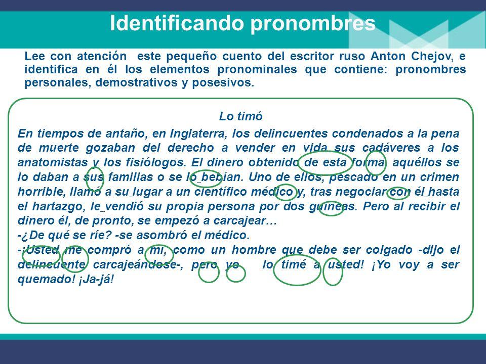 Pronombres posesivos Los pronombres posesivos indican la relación de posesión o pertenencia con las personas gramaticales (El mapa es suyo).