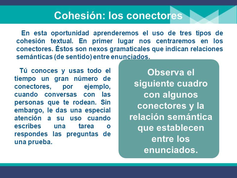 Cohesión: Pronominalización De igual manera que los conectores y la correfencia, la pronominalización es un mecanismo de cohesión textual.