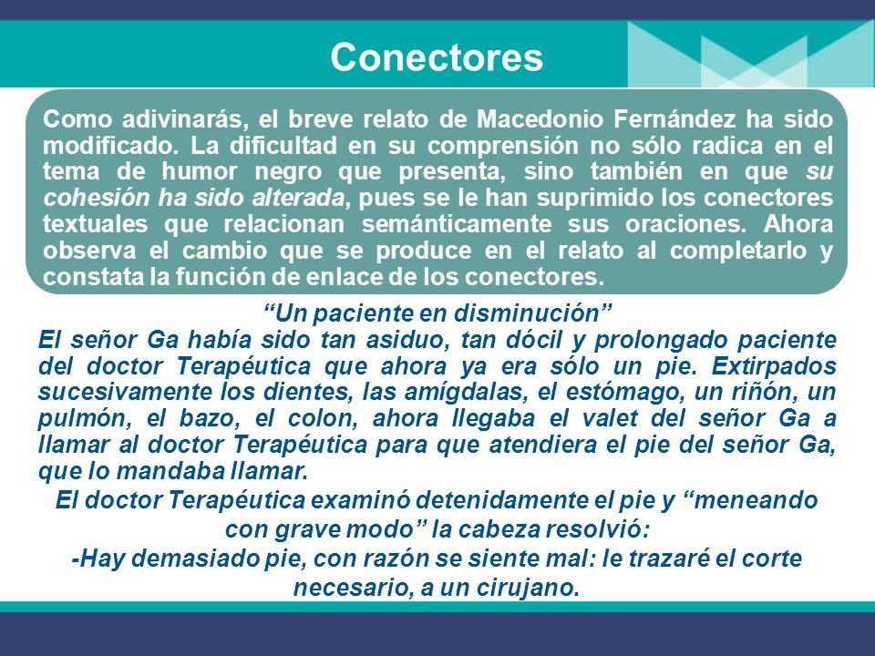 Conectores Como adivinarás, el breve relato de Macedonio Fernández ha sido modificado.