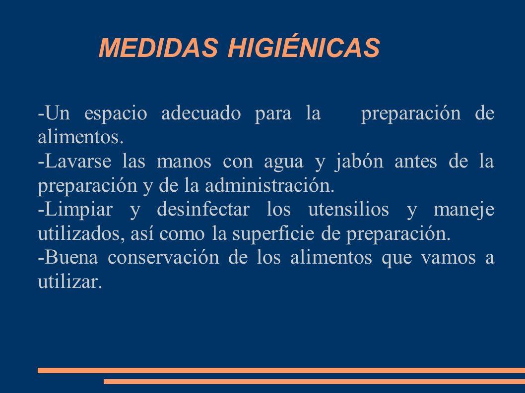 MEDIDAS HIGIÉNICAS -Un espacio adecuado para la preparación de alimentos.