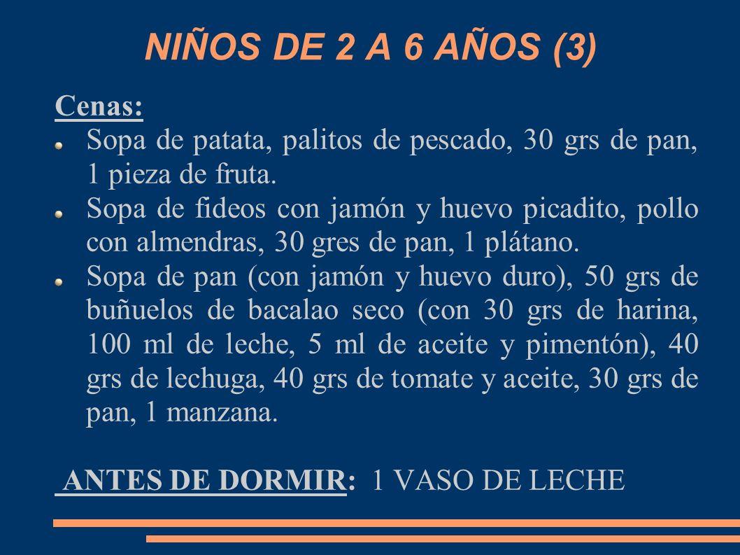 NIÑOS DE 2 A 6 AÑOS (3) Cenas: Sopa de patata, palitos de pescado, 30 grs de pan, 1 pieza de fruta. Sopa de fideos con jamón y huevo picadito, pollo c