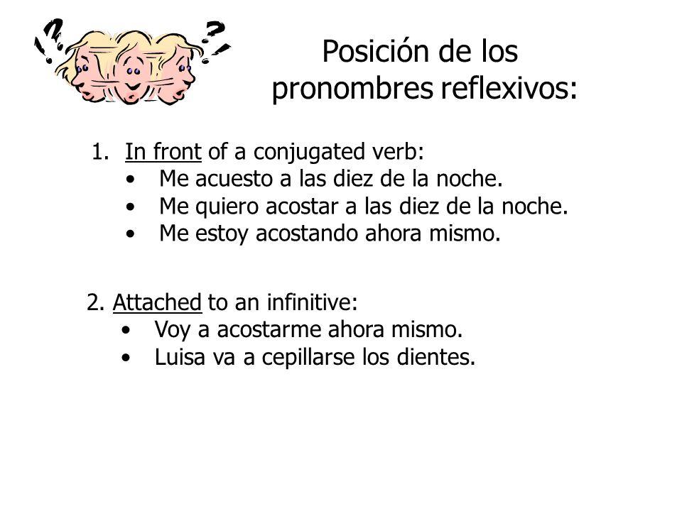 How do you form these verbs? levantarse 1. Conjugate the verb as always… levantolevantamos levantaslevantáis levantalevantan 2. Add the reflexive pron