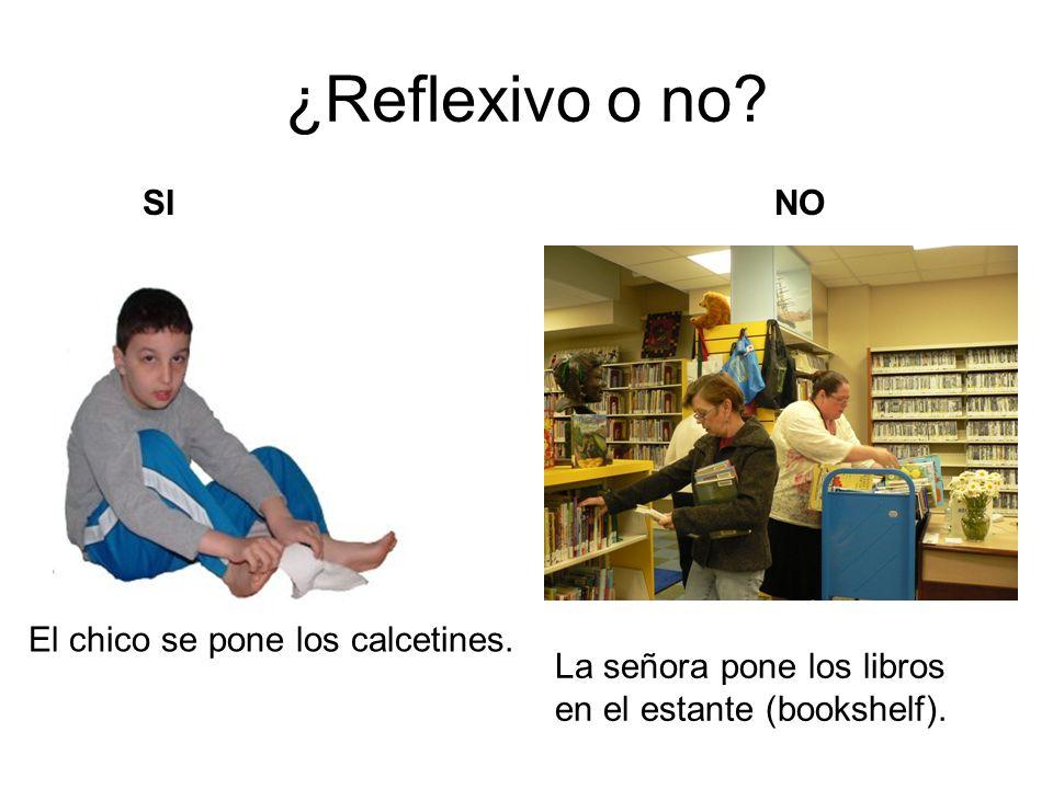 ¿Reflexivo o no? El chico se pone los calcetines. La señora pone los libros en el estante (bookshelf). SINO