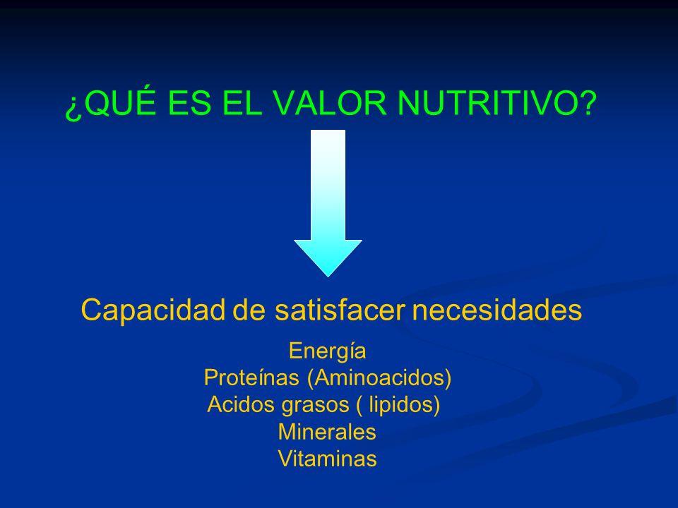 ¿QUÉ ES EL VALOR NUTRITIVO? Capacidad de satisfacer necesidades Energía Proteínas (Aminoacidos) Acidos grasos ( lipidos) Minerales Vitaminas