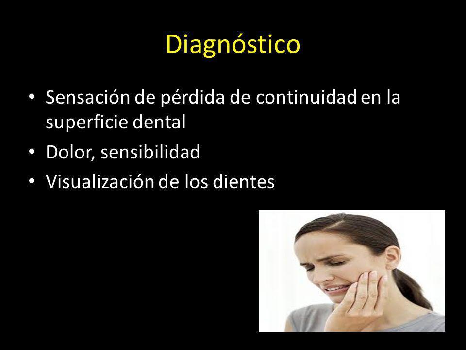 Diagnóstico Sensación de pérdida de continuidad en la superficie dental Dolor, sensibilidad Visualización de los dientes