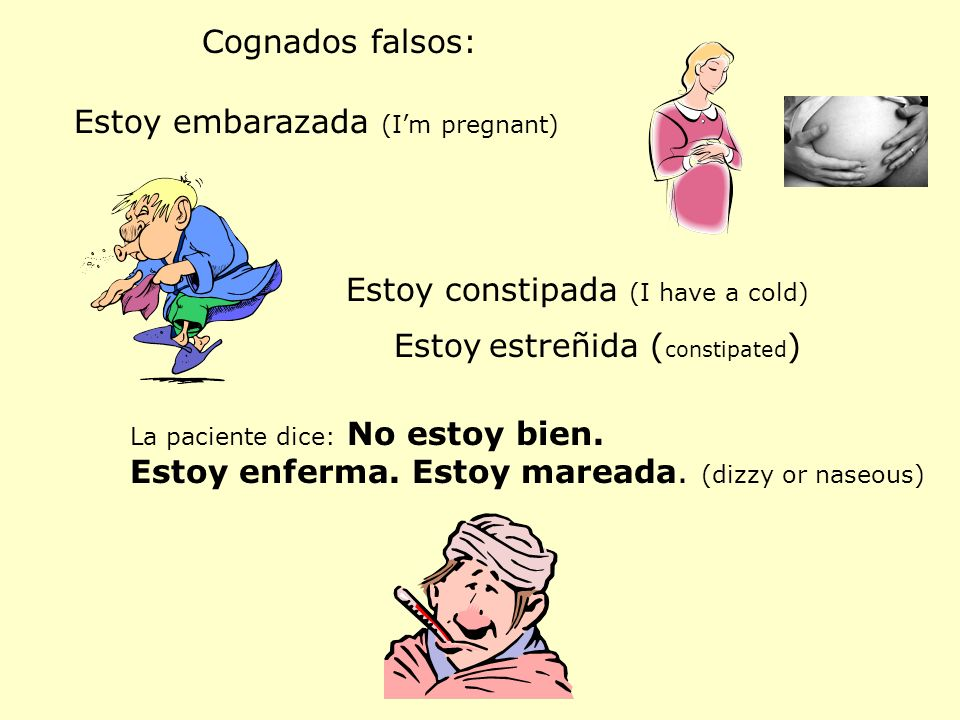 Cognados falsos: Estoy embarazada (Im pregnant) Estoy constipada (I have a cold) Estoy estreñida ( constipated ) La paciente dice: No estoy bien. Esto