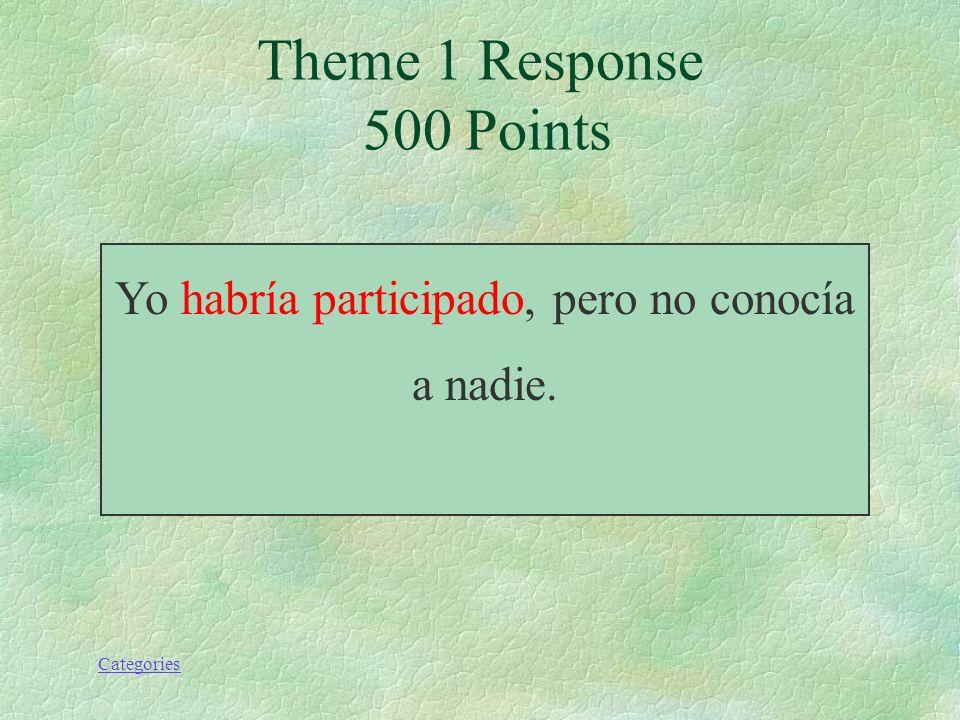 Categories Yo (haber) participado, pero no conocía a nadie. Theme 1 Prompt 500 Points