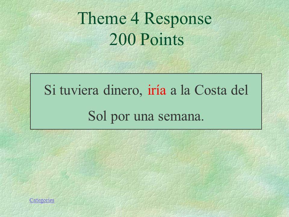 Categories Theme 4 Prompt 200 Points Si tuviera dinero, yo (ir) a la Costa del Sol por una semana.