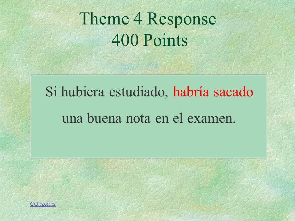 Categories Si hubiera estudiado, yo (sacar) una buena nota en el examen. Theme 4 Prompt 400 Points