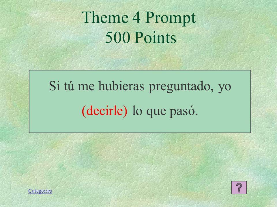 Categories Si hubiera estudiado, habría sacado una buena nota en el examen. Theme 4 Response 400 Points