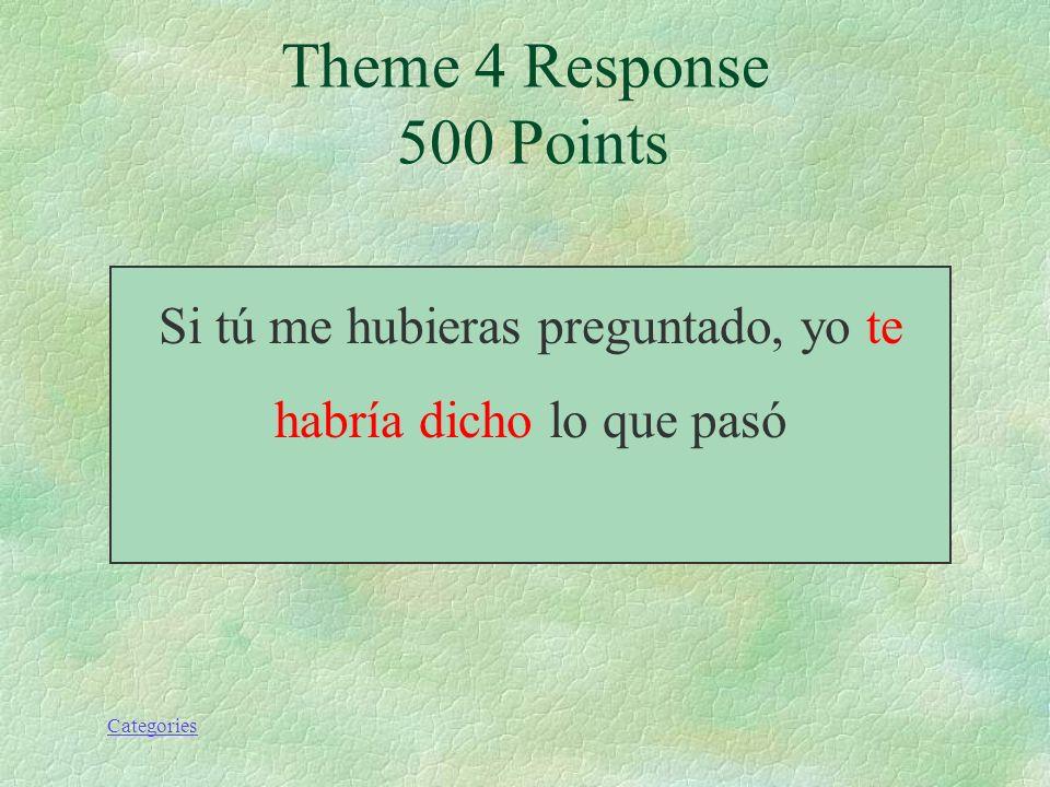 Categories Si tú me hubieras preguntado, yo (decirle) lo que pasó. Theme 4 Prompt 500 Points