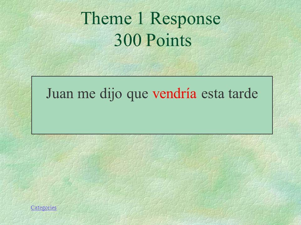 Categories Theme 1 Prompt 300 Points Juan me dijo que (venir) esta tarde.