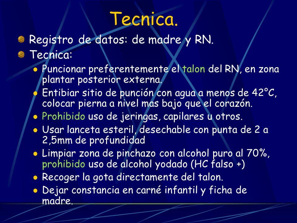 Tecnica. Registro de datos: de madre y RN. Tecnica: Puncionar preferentemente el talon del RN, en zona plantar posterior externa. Entibiar sitio de pu