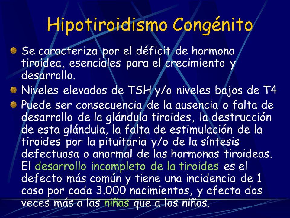 Hipotiroidismo Congénito Se caracteriza por el déficit de hormona tiroidea, esenciales para el crecimiento y desarrollo. Niveles elevados de TSH y/o n