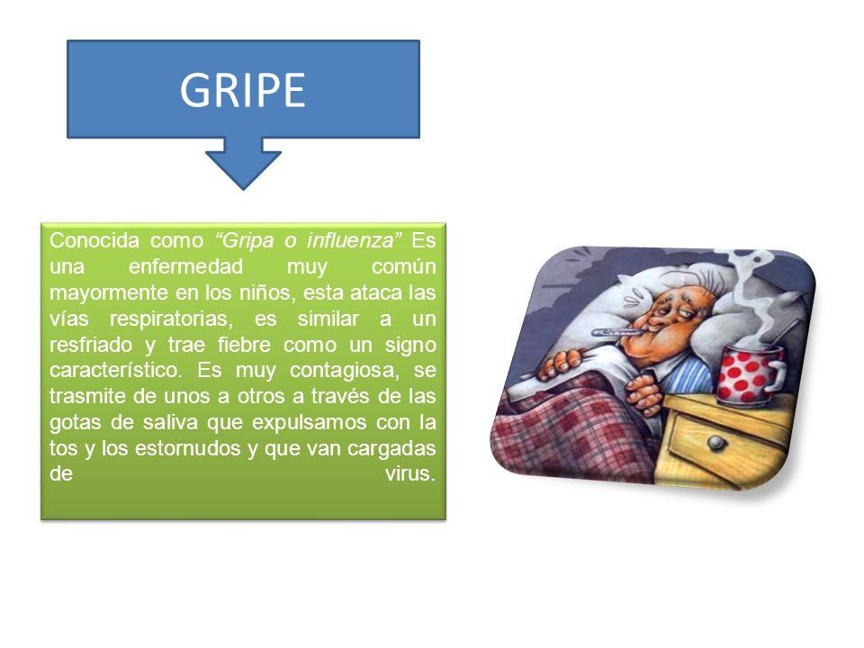 GRIPE Conocida como Gripa o influenza Es una enfermedad muy común mayormente en los niños, esta ataca las vías respiratorias, es similar a un resfriad