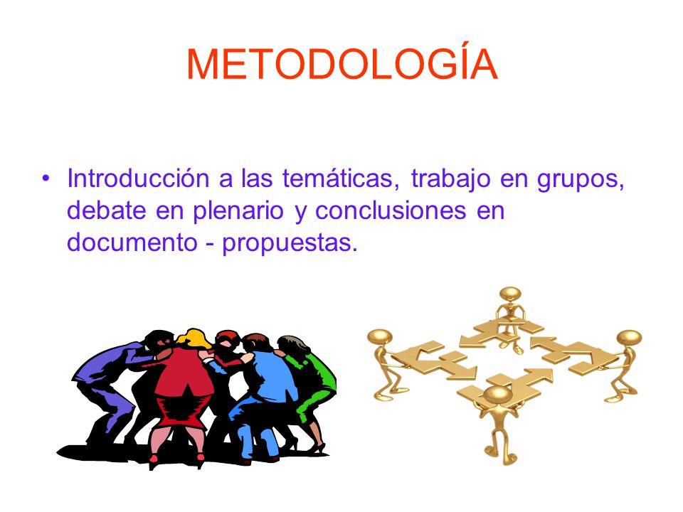 METODOLOGÍA Introducción a las temáticas, trabajo en grupos, debate en plenario y conclusiones en documento - propuestas.