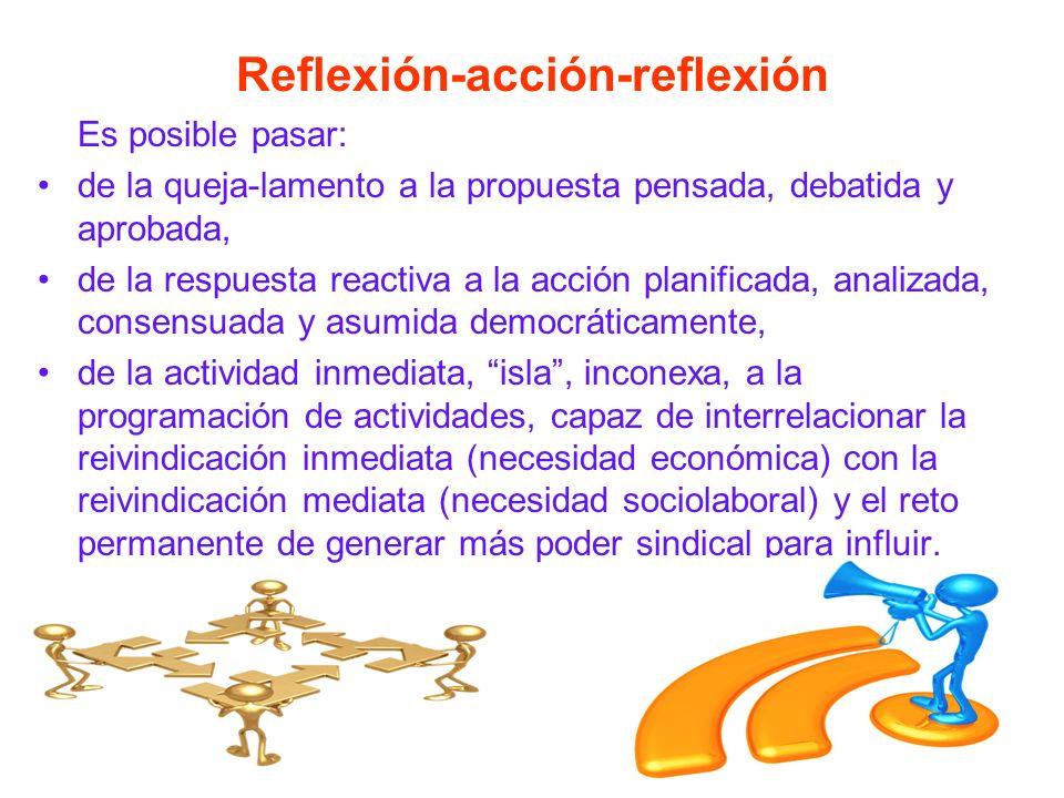 Reflexión-acción-reflexión Es posible pasar: de la queja-lamento a la propuesta pensada, debatida y aprobada, de la respuesta reactiva a la acción planificada, analizada, consensuada y asumida democráticamente, de la actividad inmediata, isla, inconexa, a la programación de actividades, capaz de interrelacionar la reivindicación inmediata (necesidad económica) con la reivindicación mediata (necesidad sociolaboral) y el reto permanente de generar más poder sindical para influir.