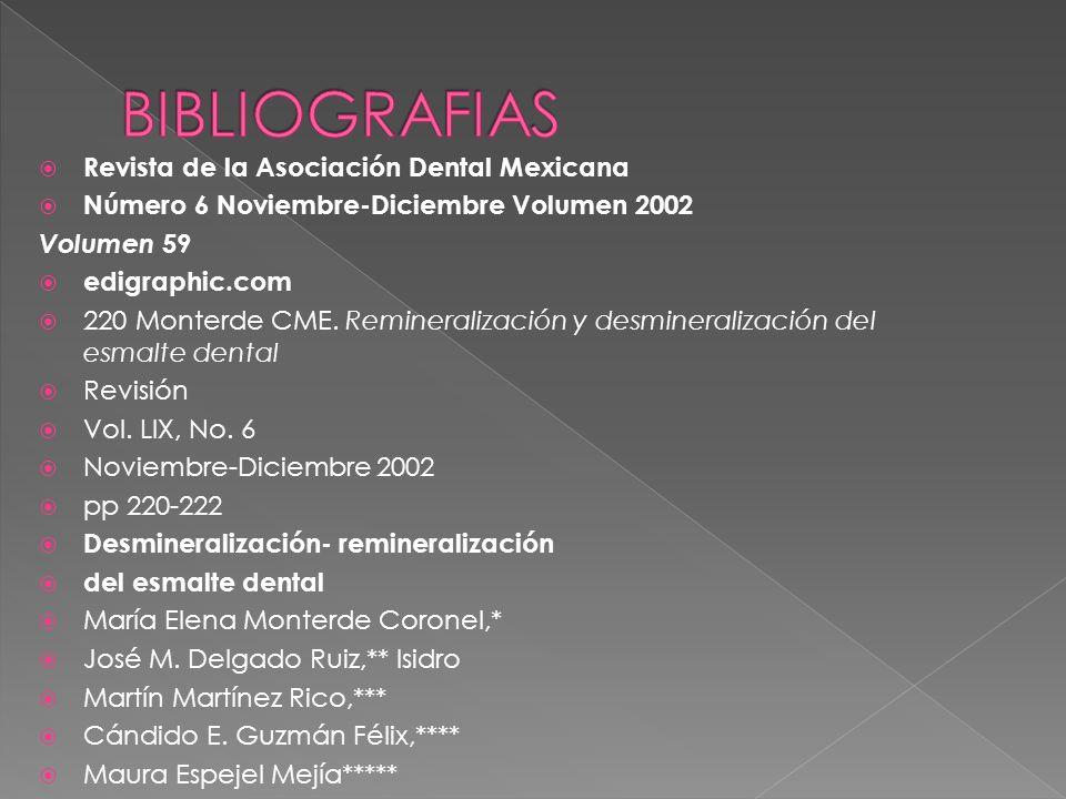 Revista de la Asociación Dental Mexicana Número 6 Noviembre-Diciembre Volumen 2002 Volumen 59 edigraphic.com 220 Monterde CME. Remineralización y desm