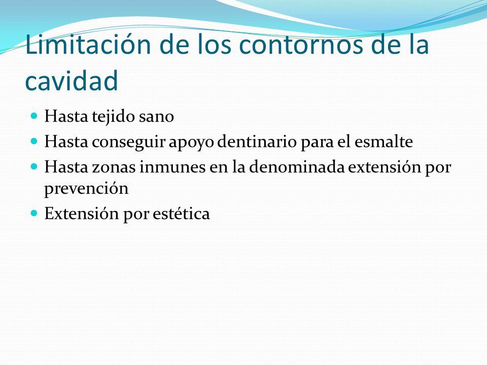 Limitación de los contornos de la cavidad Hasta tejido sano Hasta conseguir apoyo dentinario para el esmalte Hasta zonas inmunes en la denominada exte