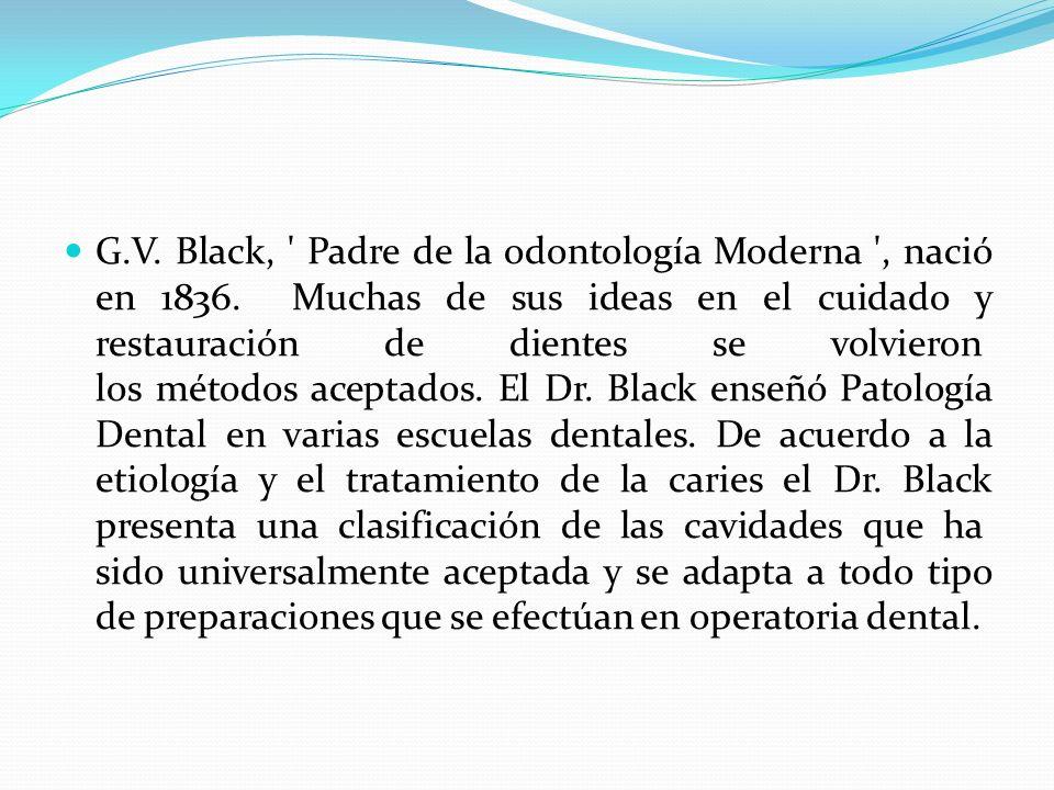 G.V. Black, ' Padre de la odontología Moderna ', nació en 1836. Muchas de sus ideas en el cuidado y restauración de dientes se volvieron los métodos a