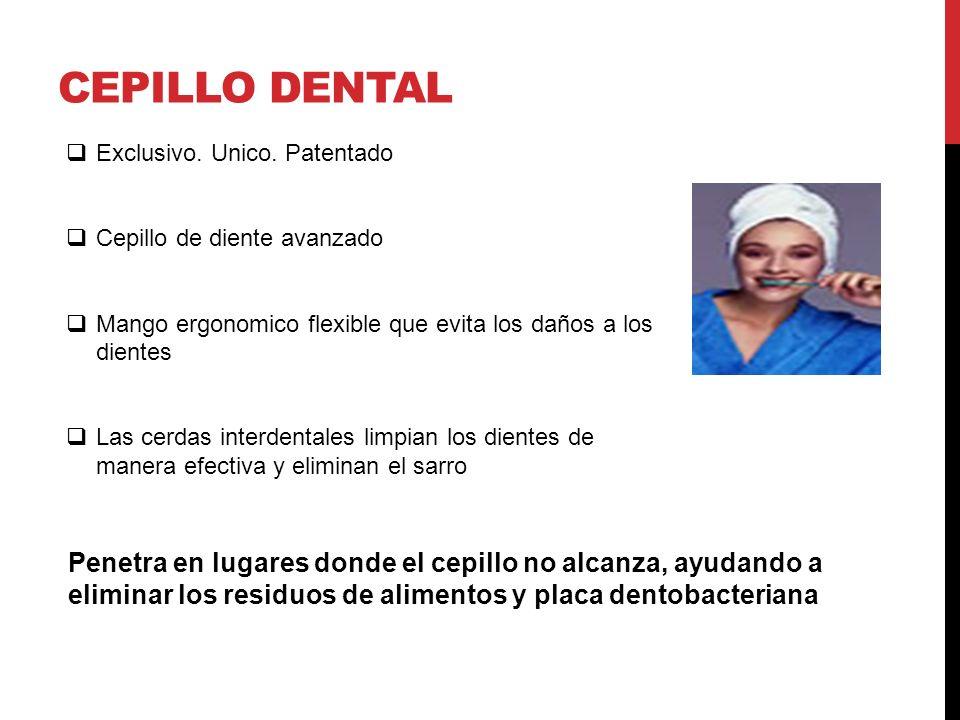 Exclusivo. Unico. Patentado Cepillo de diente avanzado Mango ergonomico flexible que evita los daños a los dientes Las cerdas interdentales limpian lo