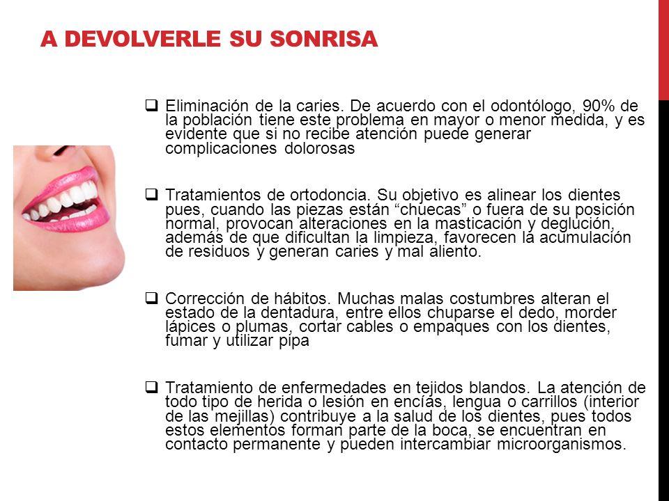 A DEVOLVERLE SU SONRISA Eliminación de la caries. De acuerdo con el odontólogo, 90% de la población tiene este problema en mayor o menor medida, y es