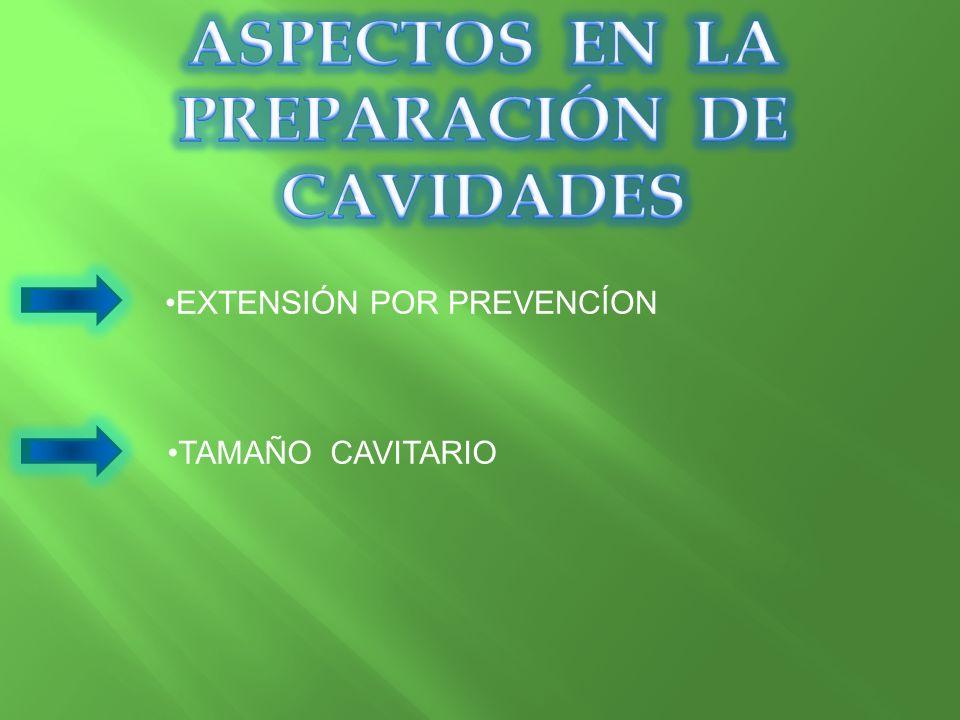 EXTENSIÓN POR PREVENCÍON TAMAÑO CAVITARIO