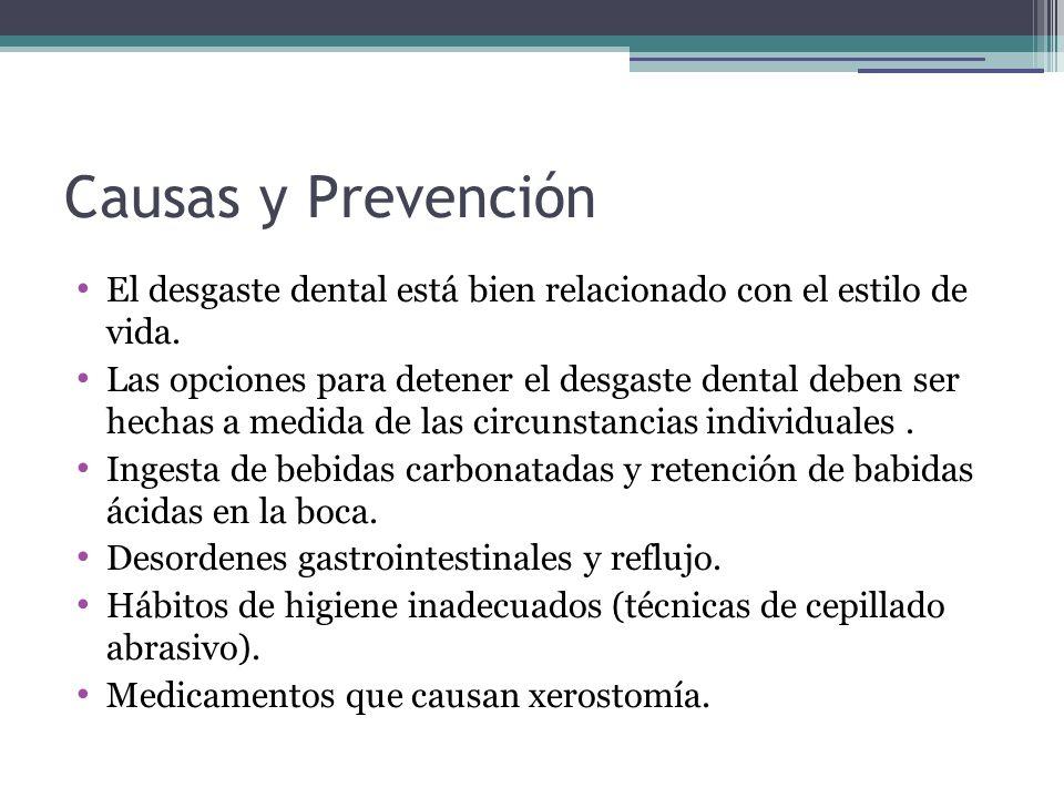 Causas y Prevención El desgaste dental está bien relacionado con el estilo de vida. Las opciones para detener el desgaste dental deben ser hechas a me