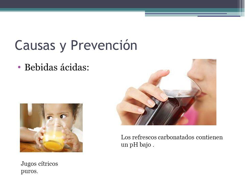Causas y Prevención Bebidas ácidas: Los refrescos carbonatados contienen un pH bajo. Jugos cítricos puros.
