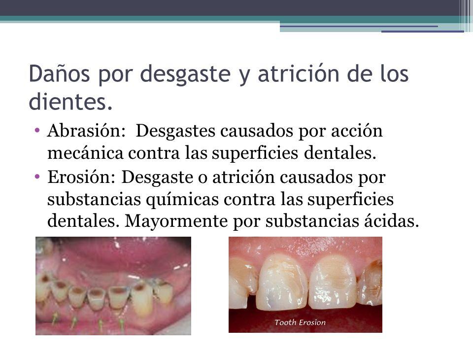 Daños por desgaste y atrición de los dientes. Abrasión: Desgastes causados por acción mecánica contra las superficies dentales. Erosión: Desgaste o at