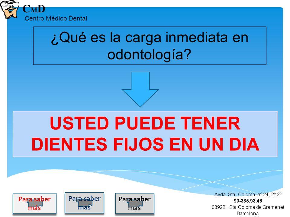 ¿Qué es la carga inmediata en odontología? Avda. Sta. Coloma, nº 24, 2º 2º 93-385.93.46 08922 - Sta Coloma de Gramenet Barcelona CMDCMD Centro Médico