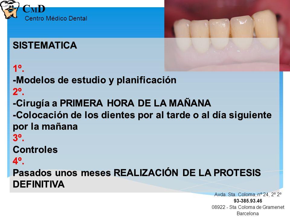 Avda. Sta. Coloma, nº 24, 2º 2º 93-385.93.46 08922 - Sta Coloma de Gramenet Barcelona CMDCMD Centro Médico Dental SISTEMATICA 1º. -Modelos de estudio