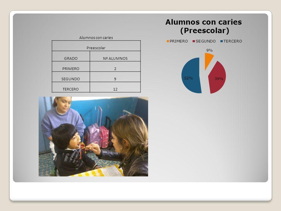 Alumnos con caries Preescolar GRADONº ALUMNOS PRIMERO2 SEGUNDO9 TERCERO12