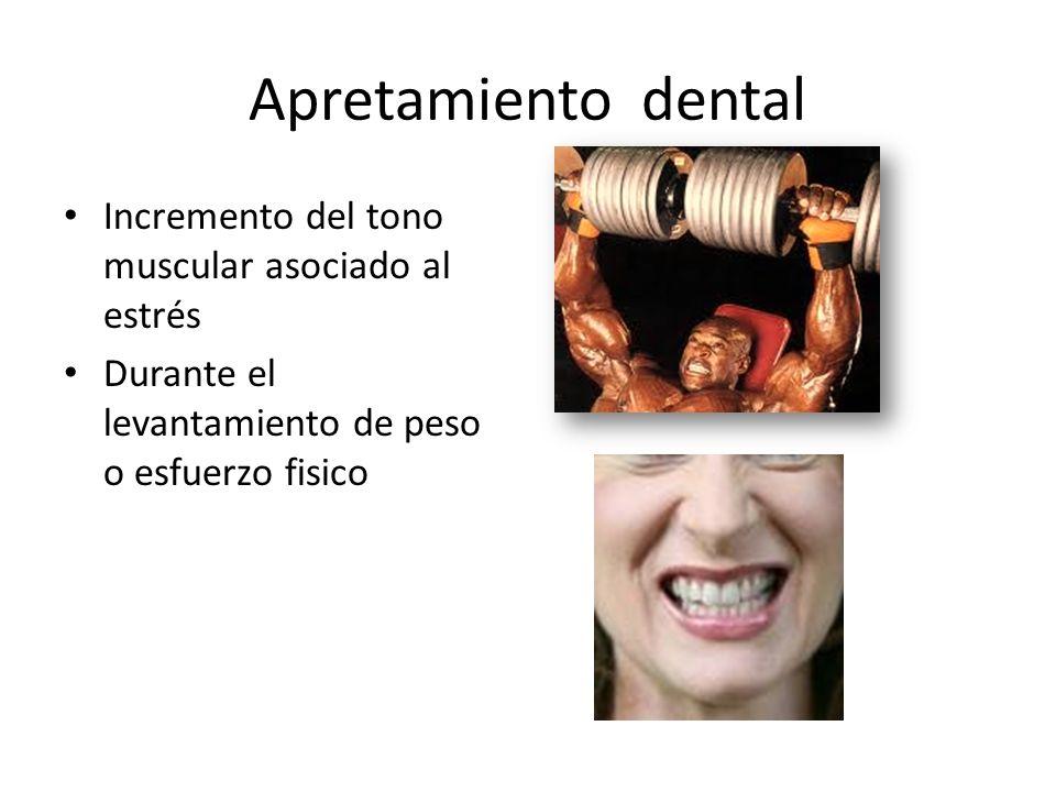 Apretamiento dental Incremento del tono muscular asociado al estrés Durante el levantamiento de peso o esfuerzo fisico