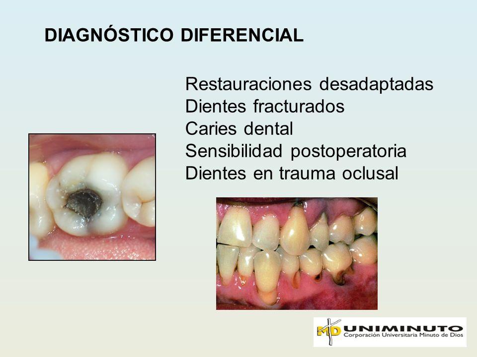 DIAGNÓSTICO DIFERENCIAL Restauraciones desadaptadas Dientes fracturados Caries dental Sensibilidad postoperatoria Dientes en trauma oclusal