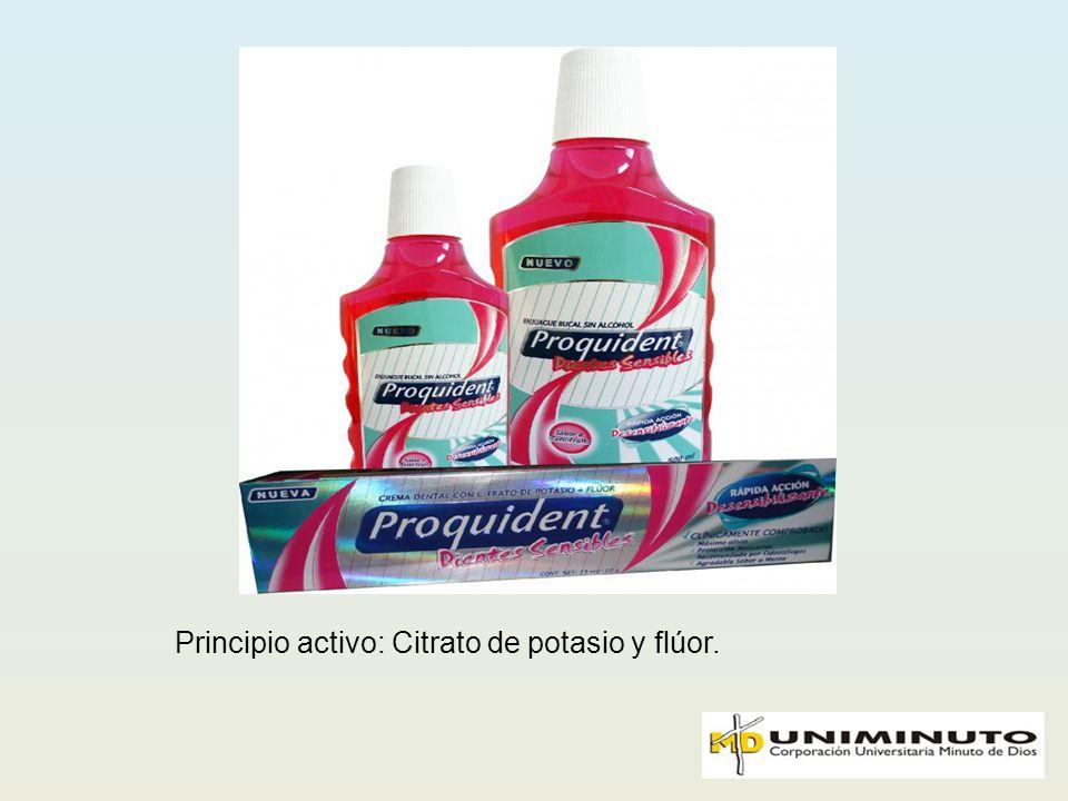Principio activo: Citrato de potasio y flúor.