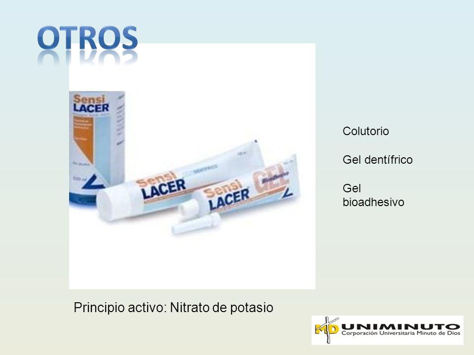 Principio activo: Nitrato de potasio Colutorio Gel dentífrico Gel bioadhesivo