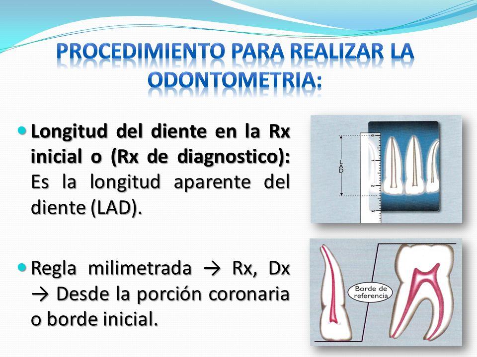Longitud del diente en la Rx inicial o (Rx de diagnostico): Es la longitud aparente del diente (LAD). Longitud del diente en la Rx inicial o (Rx de di
