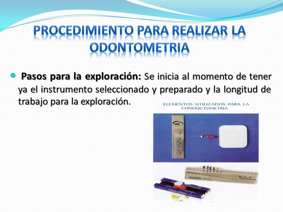 Pasos para la exploración: Se inicia al momento de tener ya el instrumento seleccionado y preparado y la longitud de trabajo para la exploración. Paso