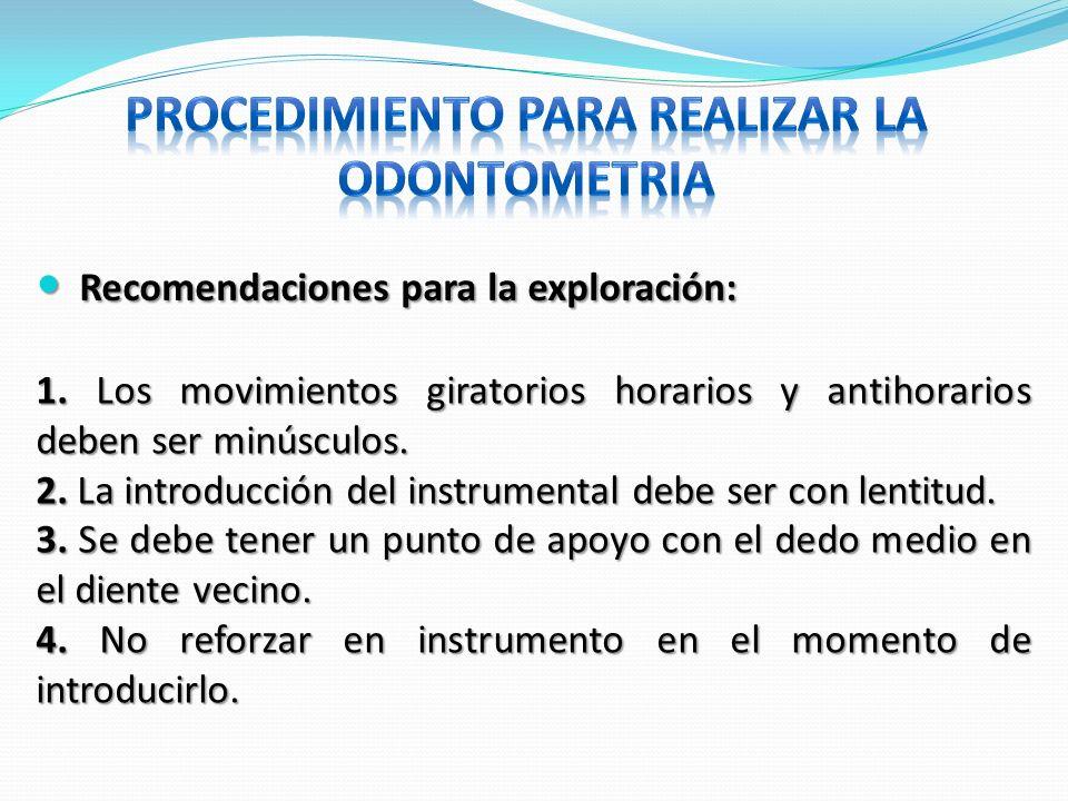 Recomendaciones para la exploración: Recomendaciones para la exploración: 1. Los movimientos giratorios horarios y antihorarios deben ser minúsculos.