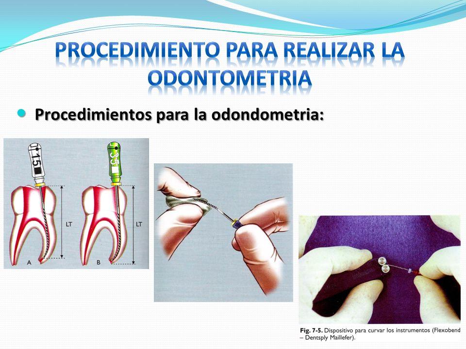 Procedimientos para la odondometria: Procedimientos para la odondometria: